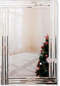 RICHTOP Miroir Murale Grand Bois Miroirs Mural rectangulaire Design à Triple Bords biseautés, Velours Noir